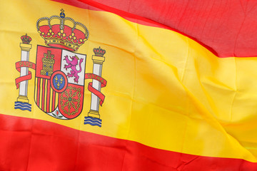 Spanish flag in the wind in sunlight