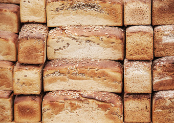 Background  with bread loaves