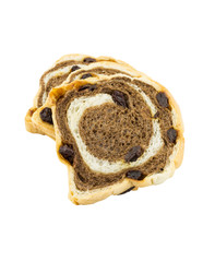 Raisin chocolate bread on white background