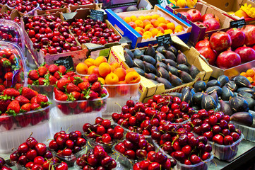 Fresh fruit and berries in market