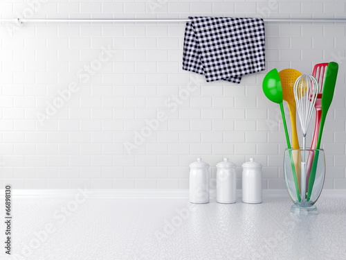 Fotobehang Koken Colour utensils.
