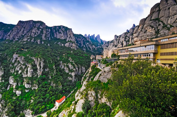 Mountains Montserrat and  monastery
