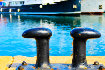 Black mooring bollards