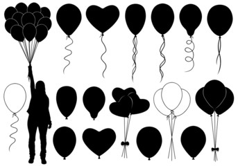 Set of different balloons isolated on white