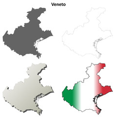 Veneto blank detailed outline map set