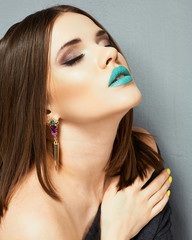 Model Beauty Lips Blue. Isolated close up face