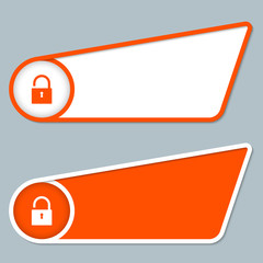 two orange boxes for any text with padlock