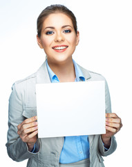 Business woman corporate suit dressed show blank sign board.