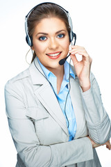 Woman opereator customer service suit dressed smile.