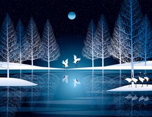 冬の森と丹頂鶴
