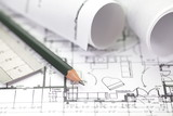 Architect rolls and plans construction project drawing mouse pad