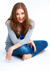 Fit casual clothes woman portrait in yoga pose.