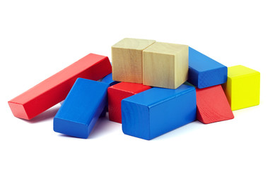 Wooden colorful bricks isolated on white background. Wooden toy