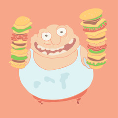 Glutton eating hamburger, vector illustration, hand drawn