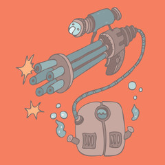 Futuristic weapons, vector illustration, hand drawn