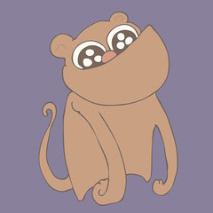 cute monkey, vector illustration, hand drawn