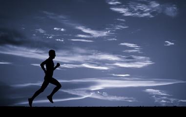 Silhouette of running man. Element of design.