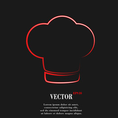 Chef cap. Cooking. Flat modern web button