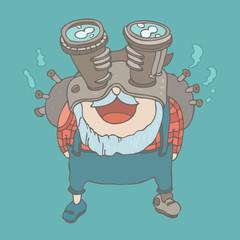 Steampunk man, vector illustration, hand drawn