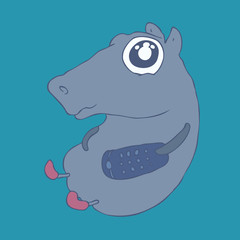 funny behemoth,  (hippopotamus) vector Illustration, hand drawn