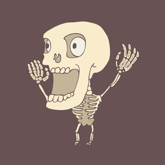 cute skeleton character, vector illustration, hand drawn