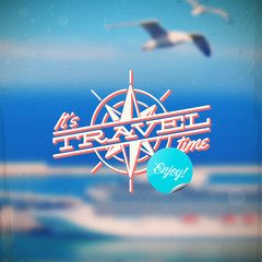 Travel type design with compass rose