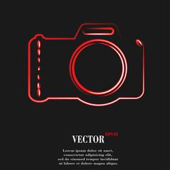 Photo camera. Flat modern web button