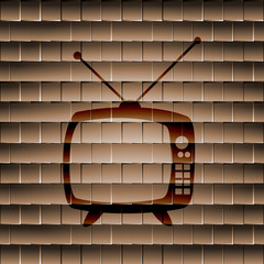 Retro tv. Flat modern web button