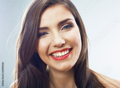 canvas print picture Girl face close up. Beauty young woman isolated portrait.