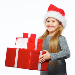 Christmas girl hold gift box .
