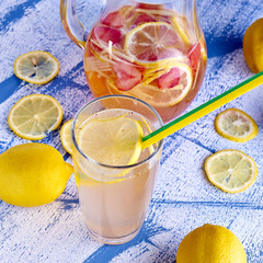 Fresh and cold ginger lemonade with strawberry