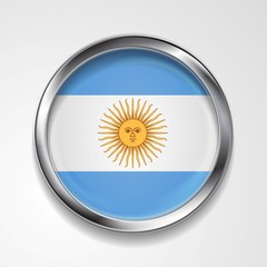 Abstract button with metallic frame. Argentinean flag
