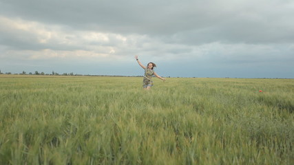 Beautiful girl enjoy life in wide field
