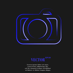 Camera. Flat modern web button
