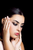 beauty portrait of young woman, perfect skin and makeup