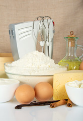 Eggs, flour, spices and mixer