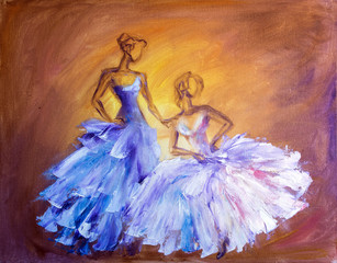Two beautiful women at the ball. Oil painting.