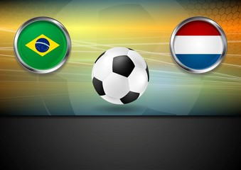 Final football. Brazil and Netherlands in Brazil 2014