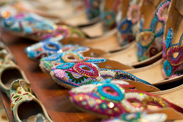Traditional colorful Arabic slippers