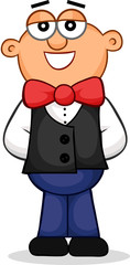 Waiter Standing Cartoon