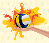 Fototapeta Abstract grungy background with volleyball