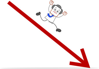 Cartoon Businessman and Statistic Arrow Falling Down