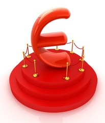 Euro sign on podium. 3D icon on white background