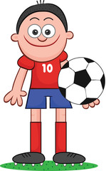 Cartoon Soccer Player Holding