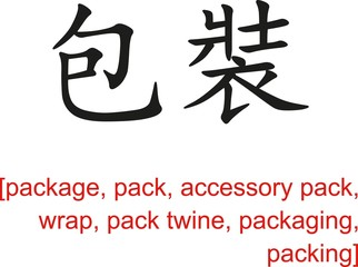 Chinese Sign for package, pack, accessory pack, wrap,pack twine