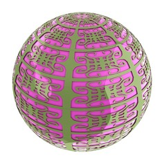 Arabic abstract glossy dark green geometric sphere and pink sphe