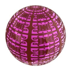 Arabic abstract glossy dark red geometric sphere and pink sphere