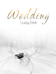 White gold wedding rings invitation