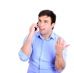 Business executive talking on his mobile phone