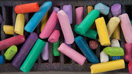 stack of multicolored pastel chalks